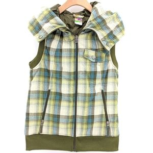 Burton Dry Ride Green Plaid Flannel Hooded Vest